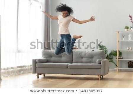 Stockfoto: Lachend · gek · jonge · vrouw · haren · hoofd · Maakt · een · reservekopie