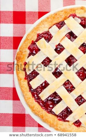 Stock fotó: Cseresznyés · pite · fehér · cseresznye · desszert · pite · friss