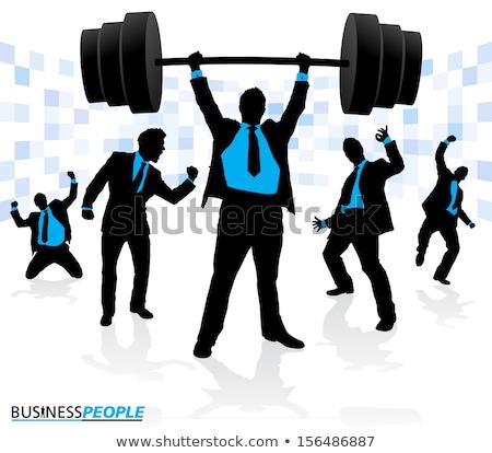 Empresario levantamiento de pesas sombra jóvenes elegante vendedor Foto stock © ra2studio
