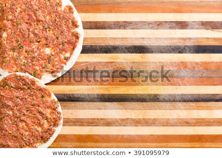 Two prepared Turkish lahmacun ready to cook Stock photo © ozgur