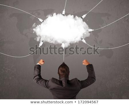 Genç bakıyor bulut transfer dünya hizmet Stok fotoğraf © ra2studio