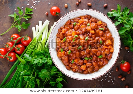 Fasulye güveç dilimleri sosis gıda et Stok fotoğraf © Digifoodstock