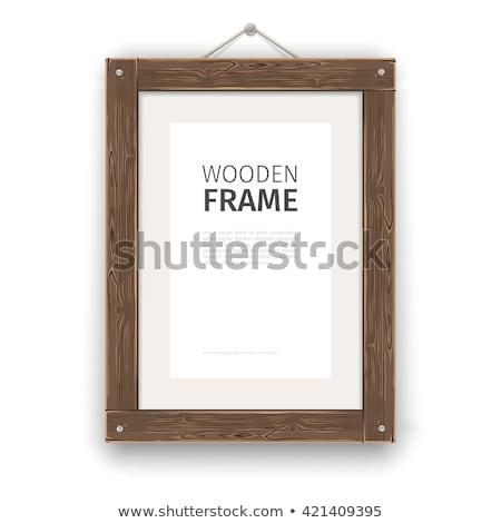 Oude houten rechthoek frame licht papier Stockfoto © Voysla