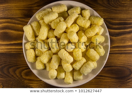 close up of white sugar heap in wooden bowl Stock photo © dolgachov