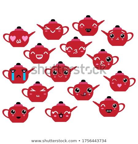 Piros arckifejezések illusztráció arc boldog háttér Stock fotó © bluering