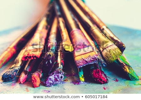 set of colorful paints close-up Stock photo © OleksandrO