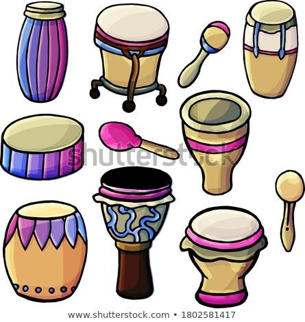 afrikaanse · trommel · vector · cartoon · illustratie · geïsoleerd - stockfoto © rastudio