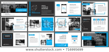 abstract style business leaflet template with blue shapes and bu Stock photo © SArts