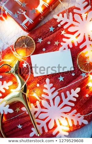 Négyszögletes keret kicsi hópelyhek réteges körül Stock fotó © SwillSkill