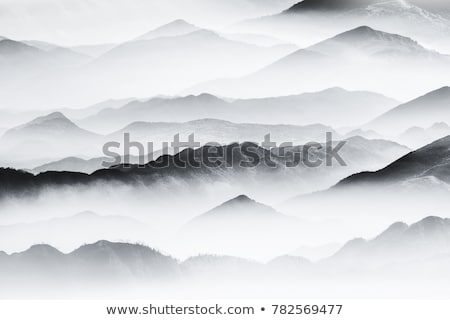 Stock photo: Ink and Watercolor Sketch of Hills and River