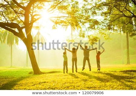 Boldog család gyep park gyönyörű család baba Stock fotó © tekso