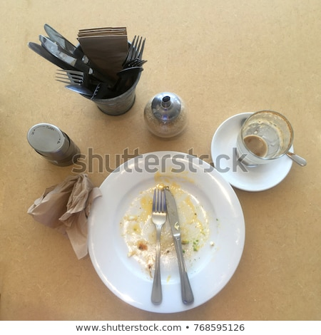 After Shot Top View finished plate and cup table in a cafe Stock photo © lovleah