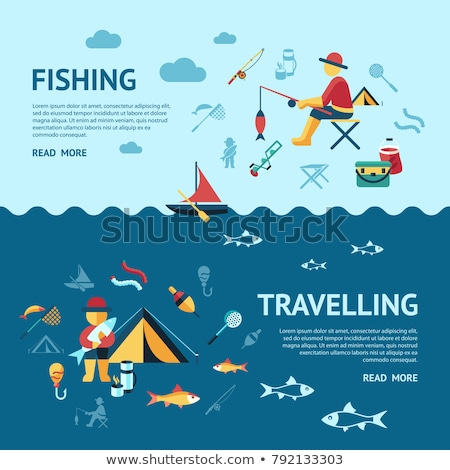 Digital vector fishing activity set collection stock photo © frimufilms
