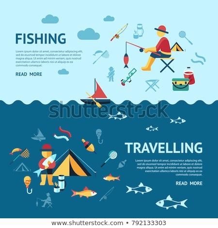 pescaria · conjunto · ícones · vara · de · pesca · isca · barco - foto stock © frimufilms