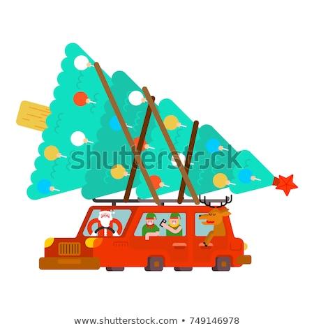 ストックフォト: サンタクロース · 鹿 · エルフ · 車 · クリスマスツリー