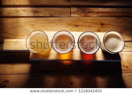 четыре очки пива лоток пивоваренный завод Сток-фото © wavebreak_media
