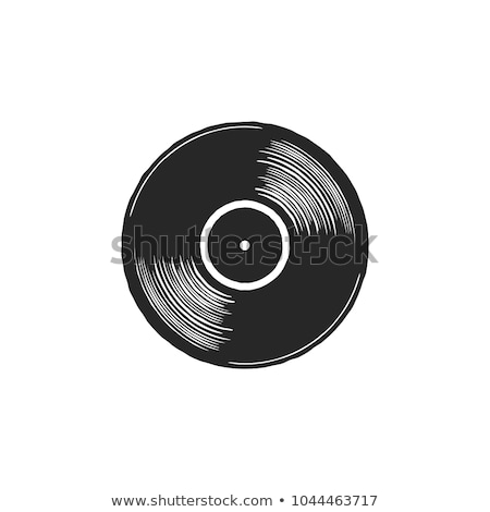 Vintage hand drawn vinyl LP record with gray label. Black Old technology, realistic retro design. Il Stock photo © JeksonGraphics
