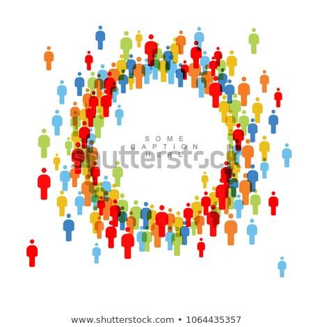 Gemeinschaft · Netzwerk · sozialen · Symbole · blau · grünen - stock foto © orson