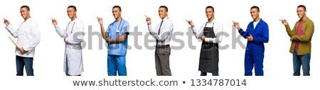 улыбаясь · бизнесмен · указывая · вверх · указательный · палец · изолированный - Сток-фото © studiostoks