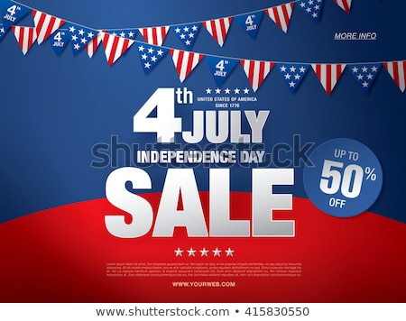 Fourth of July. Independence Day Sale Banner Design with Flag on Firework Background. USA National H Stock photo © articular