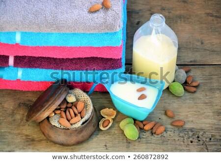 Stock fotó: Fürdőkád · törölközők · mosás · por · szövet · fából · készült