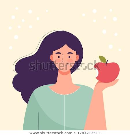 rode · appel · kern · cute · cartoon · vruchten · witte - stockfoto © rastudio