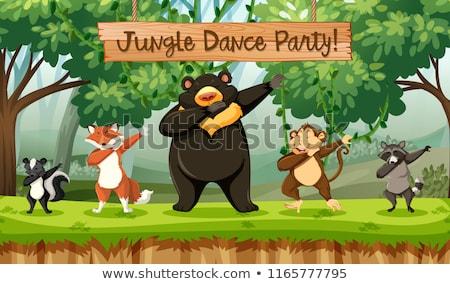 Zwierząt dżungli dance strony ilustracja liści Zdjęcia stock © bluering