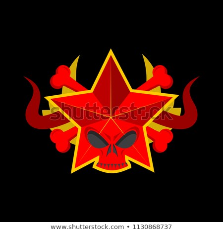 Skull red star. Symbol of specter of communism. USSR emblem of d Stock photo © popaukropa