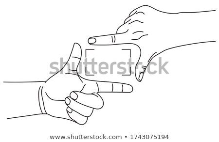 Kettő kezek készít keret izolált kéz Stock fotó © MaryValery