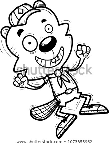 Cartoon Male Beaver Scout Jumping Stock photo © cthoman
