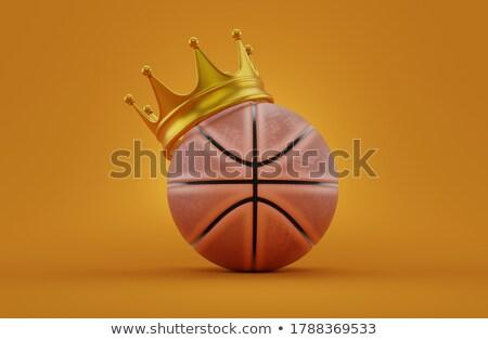 golden crown on basketball ball 3d stock photo © djmilic