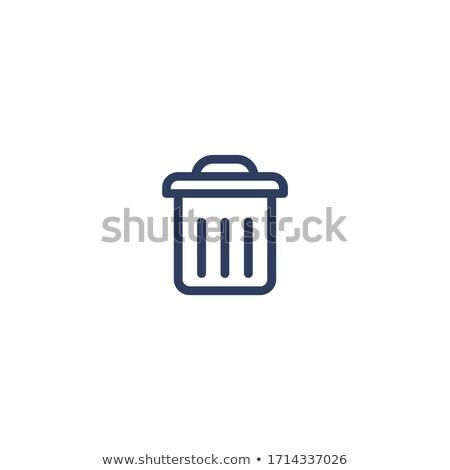 Prullenbak lijn icon witte vector kantoor Stockfoto © Imaagio