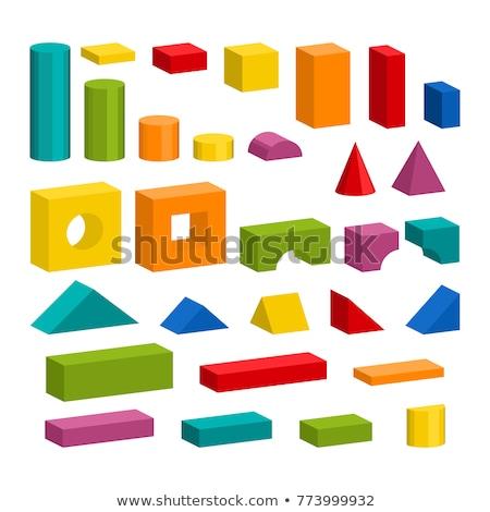 Wooden Building Blocks Set - Childrens Construction Wood Toy Stock photo © nenovbrothers