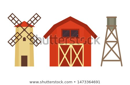 Cowshed with Windmill and Boiler on Metal Stand Stock photo © robuart