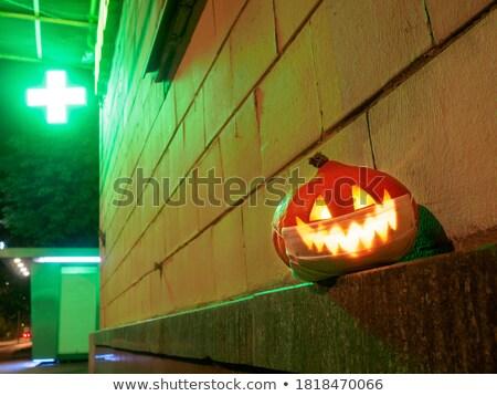 Stok fotoğraf: Fener · neon · halloween · tanıtım · parti · mutlu