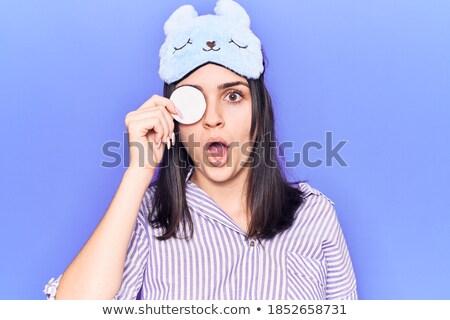 Stockfoto: Portret · bezorgd · jong · meisje · make · permanente