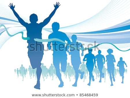 running race woman and shadow vector illustration stock photo © robuart