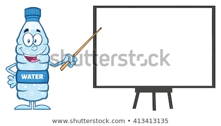 talking water plastic bottle cartoon mascot character using a pointer stick stock photo © hittoon