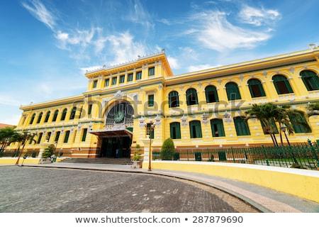 saigon central post office on blue sky background in ho chi minh vietnam steel structure of the go stock photo © galitskaya
