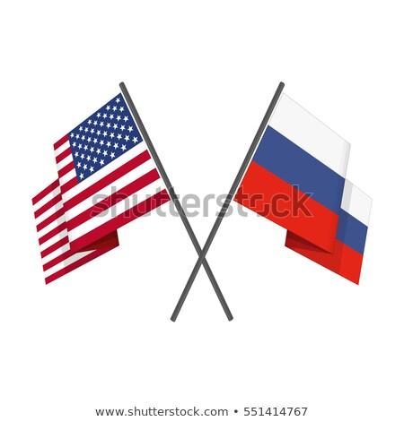 два флагами Россия Соединенные Штаты изолированный Сток-фото © MikhailMishchenko