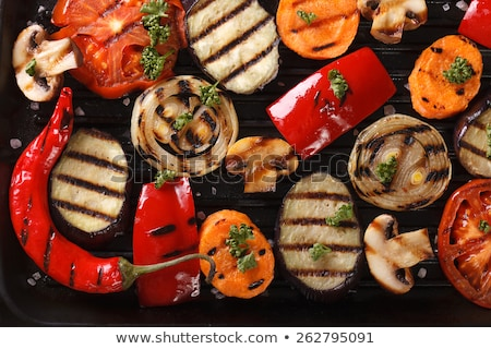 fresh grilled bell peppers and onions stock photo © frankljr