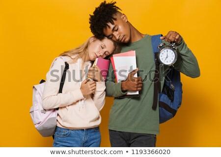 Foto stock: Foto · sonolento · estudantes · homem · mulher