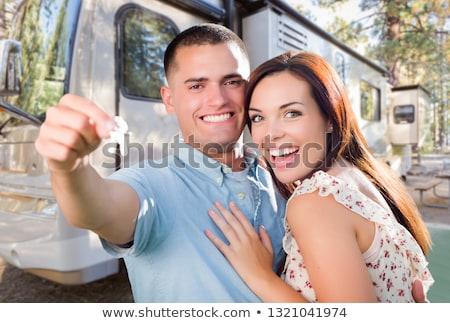 молодые военных пару ключами новых Сток-фото © feverpitch