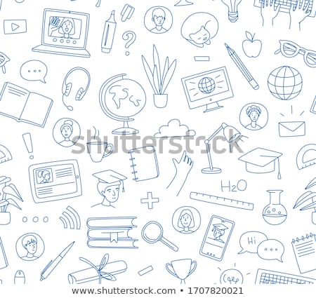 Student with doodle chat concept Stock photo © ra2studio