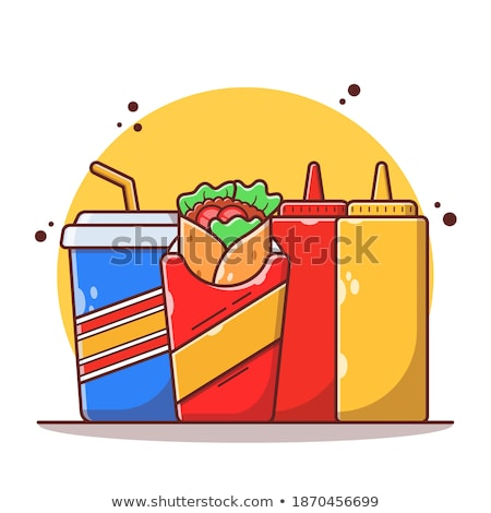 Soft Drink with Burrito Color Vector Illustrations Stock photo © robuart