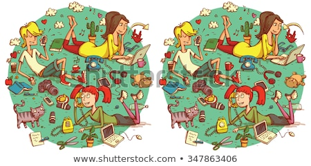 find differences game with cute kids group Stock photo © izakowski