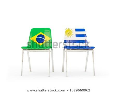 два стульев флагами Бразилия Уругвай изолированный Сток-фото © MikhailMishchenko
