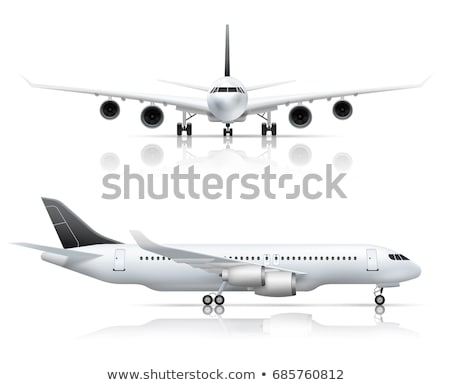 avión · despegue · icono · frente · vista · color - foto stock © angelp