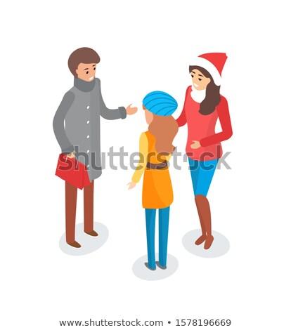 Homem mulher discutir tópico ao ar livre inverno Foto stock © robuart