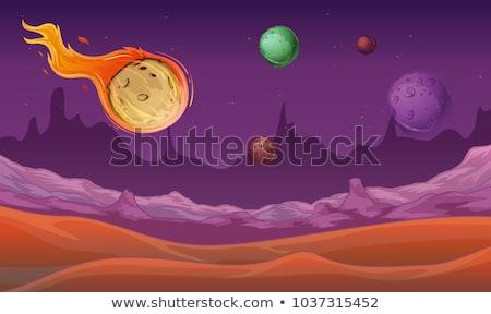 сцена комета другой планеты пространстве иллюстрация Сток-фото © colematt